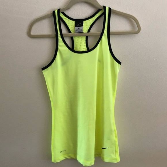 Nike Tops - Neon yellow Nike pro hyper cool dry fit tank top